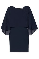 Halston Heritage Embroidered Cape Effect Crepe Dress Navy