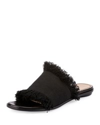 Chloe Frayed Canvas Mule Black Nero