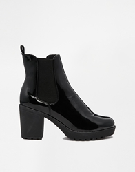 Truffle Collection Truffle Tori Patent Cleated Heeled Ankle Boots Blackpatent