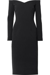 Rebecca Vallance Mondrian Off The Shoulder Crepe Midi Dress Black