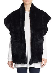 Saks Fifth Avenue Rabbit Fur Shawl Vest Black