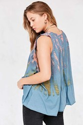 Ecote Dara Drapey Muscle Tank Top Blue