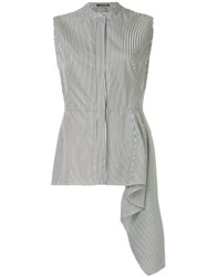 Alexander Mcqueen Sleeveless Peplum Striped Shirt Black