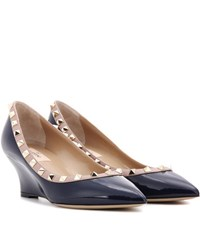 Valentino Rockstud Patent Leather Wedge Pumps Blue