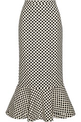 Saloni Portia Polka Dot Stretch Crepe Skirt Ivory