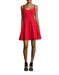 Betsy And Adam Crepe Fit Flare Dress Red