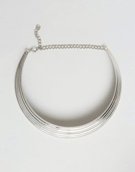Ruby Rocks Chunky Collar Necklace Silver