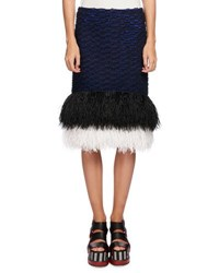 Proenza Schouler Feather Embellished Pencil Skirt Blue Black Blue Black