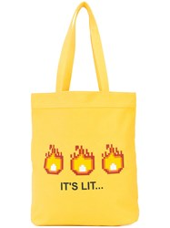 Mostly Heard Rarely Seen It's Lit Tote Unisex Cotton Yellow Orange