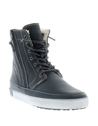 Blackstone Leather Lace Up High Top Sneakers Indigo