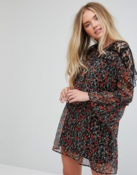 Influence Floral Lace Insert Dress With Flare Sleeves Multi Floral