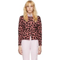 Marc Jacobs Pink And Black Wool Printed Cardigan