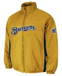 Majestic Men's Milwaukee Brewers Double Climate On Field Full Zip Jacket