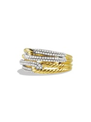 David Yurman Labyrinth Double Loop Ring With Diamonds In Gold