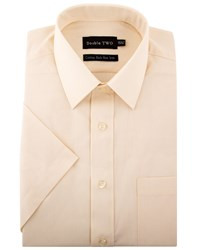 Double Two Men's Plain Short Sleeved Non Iron Cotton Rich Shirt Cream