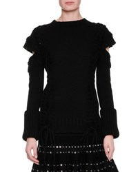 Alexander Mcqueen Chunky Lace Up Detached Sleeve Pullover Black