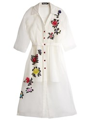 House Of Holland Floral Embroidered Silk Shirtdress White