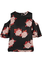 Ganni Cold Shoulder Floral Print Satin Top Black
