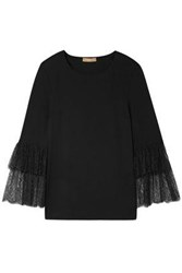 Michael Kors Collection Woman Lace Trimmed Stretch Jersey Top Black