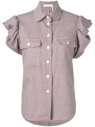 Chloe Check Ruched Sleeve Blouse Women Cotton Virgin Wool 40