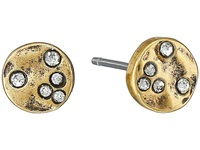 Lauren Ralph Lauren Sandy Cay Small Hammered Disk W Stones Stud Earrings Light Multi Matte Gold Earring