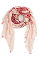 Sole Society 'Octopus' Pompom Trimmed Scarf Coral