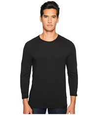 Vince Reverse Hem Cotton Modal 3 4 Sleeve Crew Black Men's T Shirt