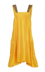 Azeeza The Elena A Line Dress With Embellished Straps Yellow