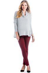 Women's Lilac Clothing 'Sloane' Cowl Neck High Low Maternity Top Silver