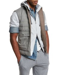 Brunello Cucinelli Reversible Quilted Vest Gray