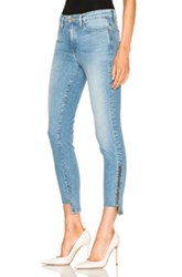 Frame Denim Le High Skinny Raw Stagger Zip In Blue