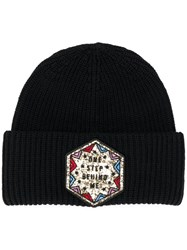 Dondup Ribbed Patch Beanie Black