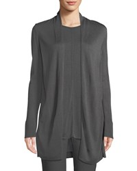 Nic Zoe Reset Open Front Long Sleeve Cardigan W Contrast Back Graphite