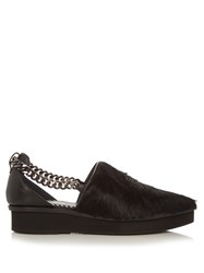 Toga Chain Detail Calf Hair And Leather Shoes Black