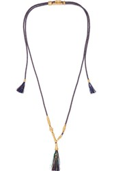 Chloe Tasseled Gold Tone Cord Necklace One Size