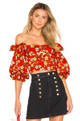Marissa Webb Kai Print Top Red