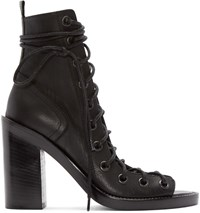 Ann Demeulemeester Black Leather Lace Up Heeled Sandals