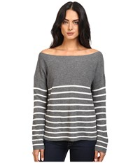 Michael Stars Cashmere Blend Striped Boat Neck Pullover Derby Grey Ivory Women's Clothing Gray