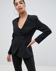 Asos Design Suit Blazer With Sharp Shoulders In Cut About Pinstripe Multi