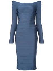 Herve Leger Fitted Midi Dress Nylon Spandex Elastane Rayon Xs Blue