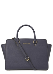Michael Kors Selma Large Navy Saffiano Leather Tote