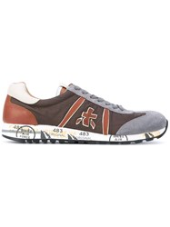 Premiata Lucy Trainers Men Leather Suede Nylon Rubber 45 Brown