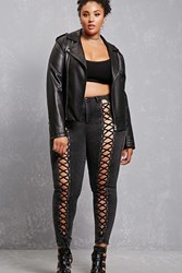 Forever 21 Plus Size Lace Up Jeggings Black