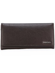 Diesel Long Billfold Wallet Brown