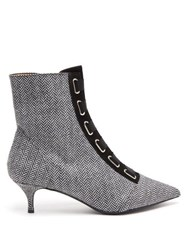 Tabitha Simmons Quin Herringbone Ankle Boots Black White