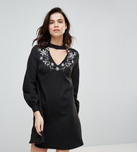 Glamorous Tall A Line Dress With Embroidered Choker Neck Black