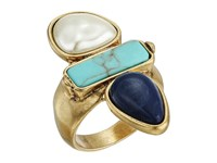 Lucky Brand Turquoise Pearl Ring Gold Ring