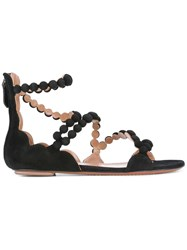 Alaia Strappy Flat Sandals Black