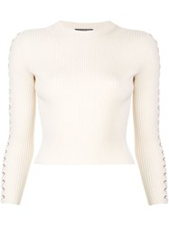 Alexander Mcqueen Lace Up Ribbed Jumper White
