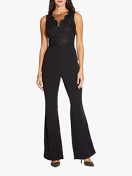 Adrianna Papell Crepe Lace Shimmer Jumpsuit Black